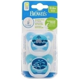 Options Prevent Soother 0-6 Months Blue - Twin Pack